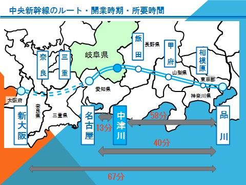 中央新幹線のルート・所要時間