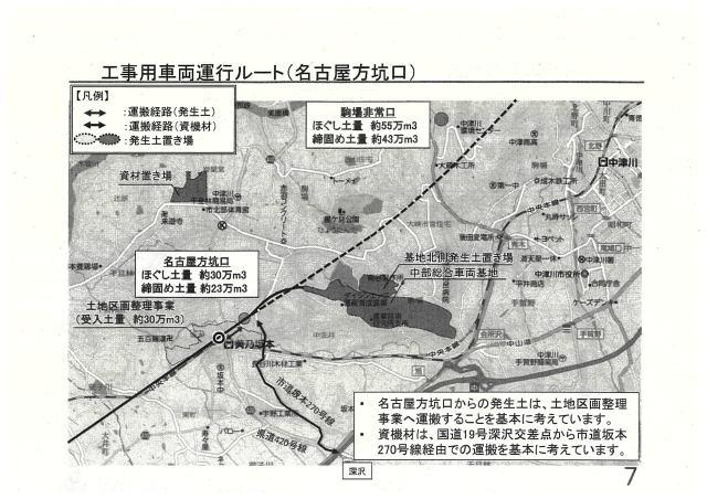 工事用車両運行ルート(名古屋方抗口)