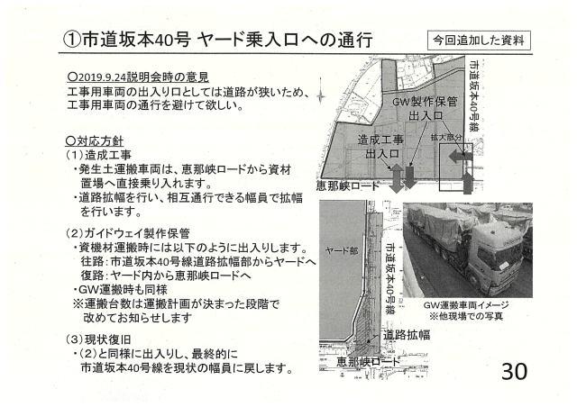 市道坂本40号のヤード乗入れ口への通行