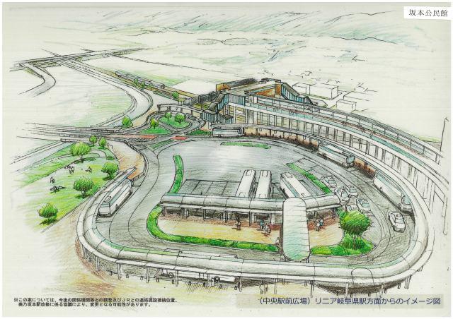 リニア岐阜県駅方面からの中央駅前広場のイメージ図