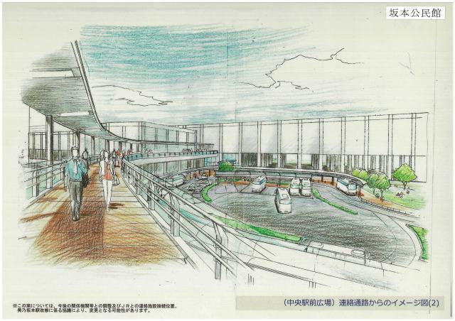 連絡通路からの中央駅前広場のイメージ図②